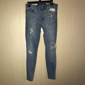 Gap Light Wash Ripped Skinny Jeans